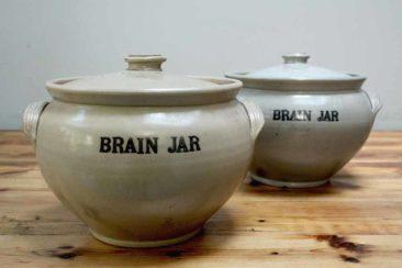 Two vintage apothecary brain jars