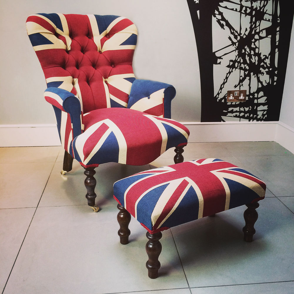 ... Winston Union Jack vintage style armchair,high quality drill cotton Union  Jack flag-Napoleon ...