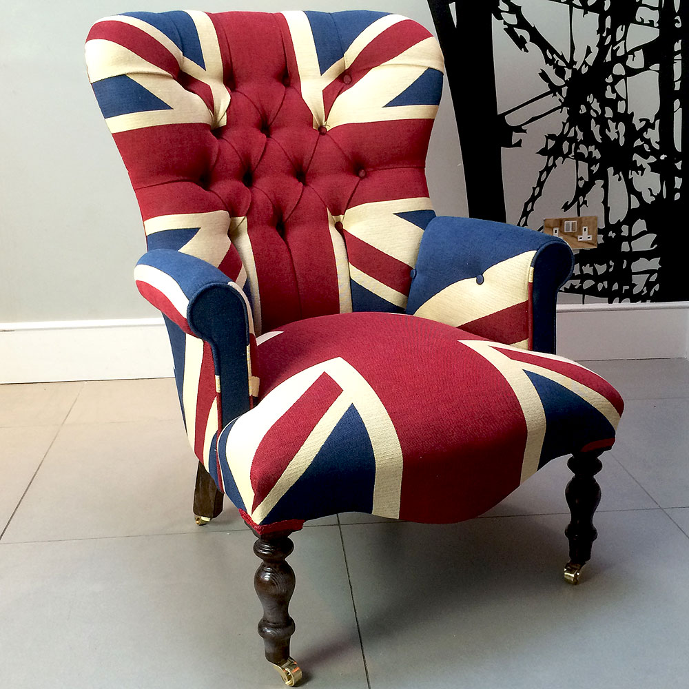... Winston Union Jack vintage style armchair, high quality drill cotton Union  Jack ...