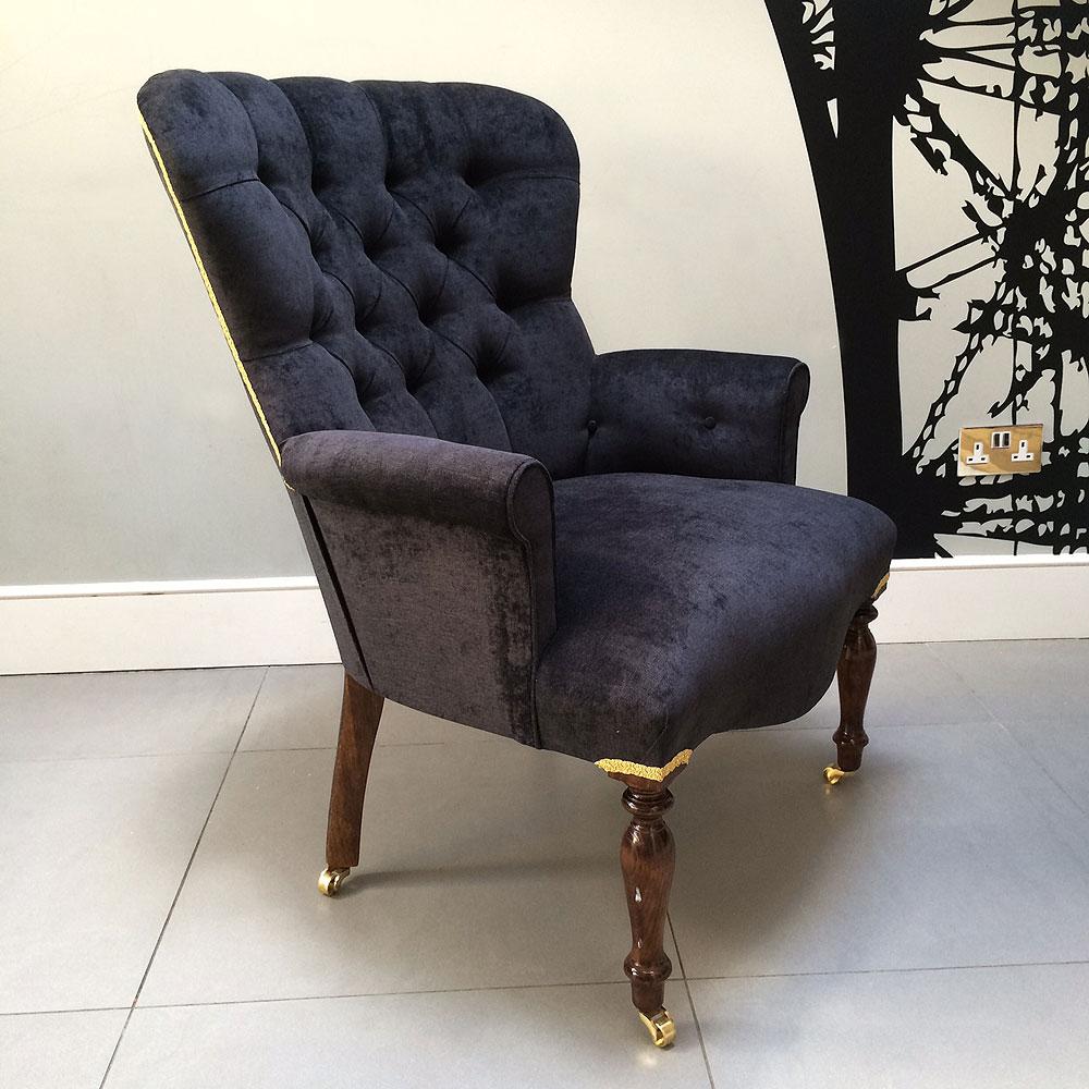 Antique velvet chair -  Antique Style Armchair Seating Upholstered Black Velvet Handmade