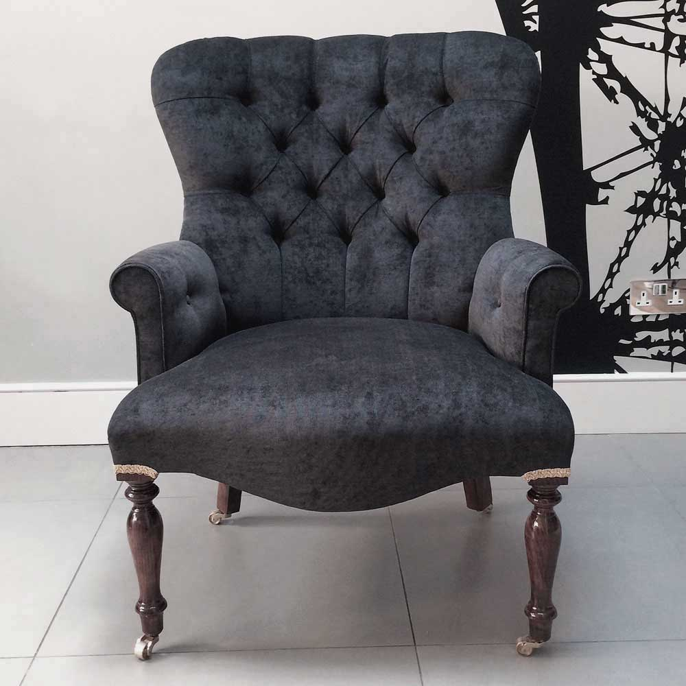Antique Style Armchair Seating Upholstered Black Velvet Handmade
