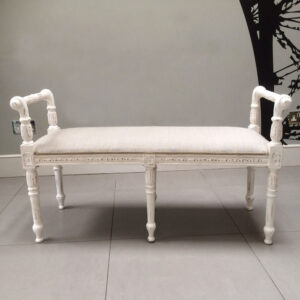 French-style-shabbychic-white-painted-furniture-seating-bench-bedroom-Napoleonrockefeller.com