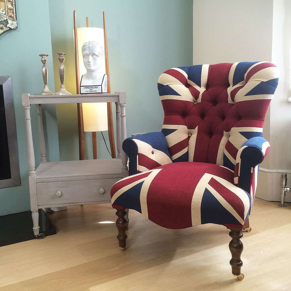 ... Winston Union Jack Chair|antique style armchair| buttonback chair|  interiors|Union Jack ... - Napoleonrockefeller.com Collectables, Vintage And Painted Furniture