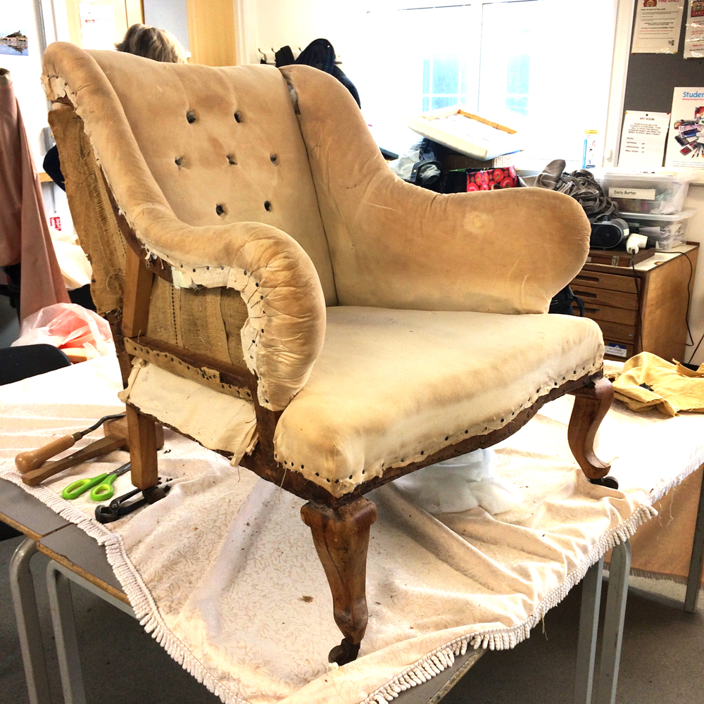 Orange damask chair - Yellow Damask Chair Upholstery Project7