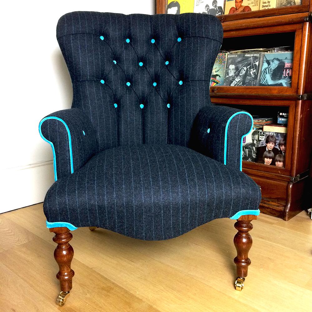 ... Moon Fabrics|Abraham Moon Fabric| Moon Upholstery|Moon Upholstered|Blue  Velvet Chair ...