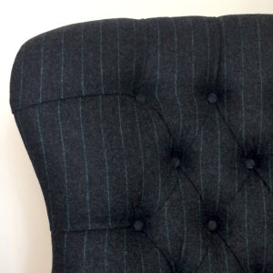 Dark grey wool|Moon wool fabric|Moon grey fabric|Moon armchair|Grey wool armchair| Grey pinstripe chair| Pinstripe chair| pinstripe armchair| grey wool lounge chair| grey armchair| button back chair| bespoke chair|bespoke seating|Wimbledon interiors|Wimbledon home decor|napoleonrockefeller.com