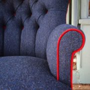 Navy|tweed|Navy wool|red velvet|bespoke chair|upholstered chair|handmade chair|london|bespoke chair london