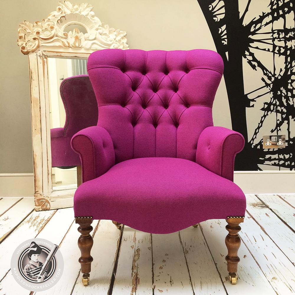 Pink Armchair|pink Chair|wool Armchair|purple Armchair|bespoke  Seating|button
