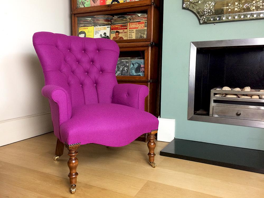 ... Pink Armchair|pink Chair|wool Armchair|purple Armchair|bespoke  Seating|button ...