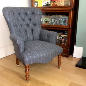 Grey wool chairs|grey wool armchairs| wool armchairs| grey pinstripe armchair|bespoke upholstered chairs| Moon chairs|Abraham Moon upholstered armchair| Moon pinstripe armchair|lounge chairs|seating|napoleonrockefeller.com|Wimbledon|Interiors|Home decor