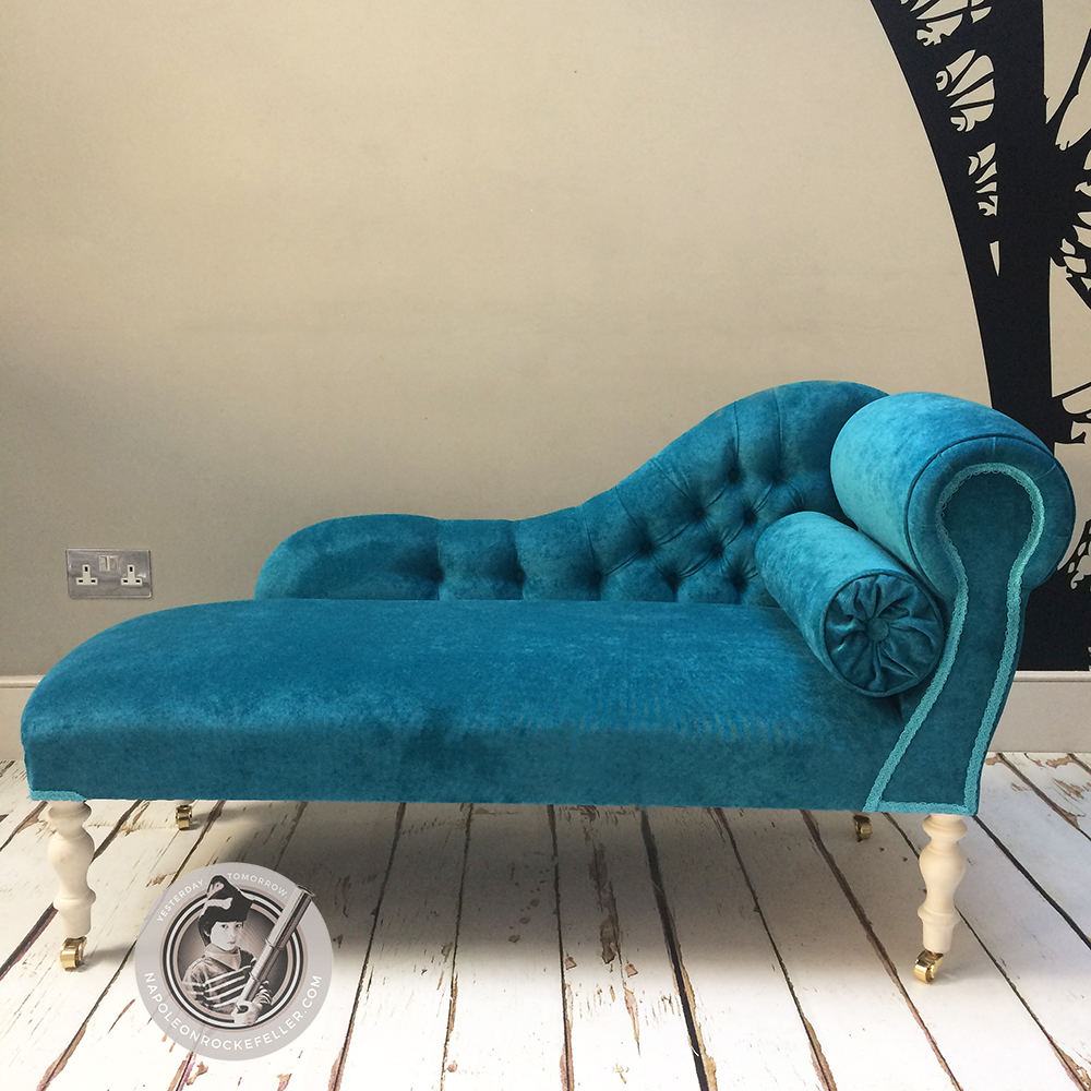 Blue velvet|velvet chaise|chaise longue|teal chair|teal velvet| upholstery : velvet chaise - Sectionals, Sofas & Couches
