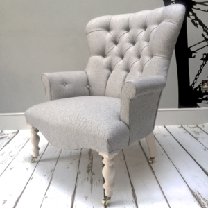 Grey armchair|Grey herringbone|Grey armchair|grey chair|grey sofa|grey interiors|bespoke chair|upholstered chair| button back chair|herringbone|grey herringbone|home decor|London interiors