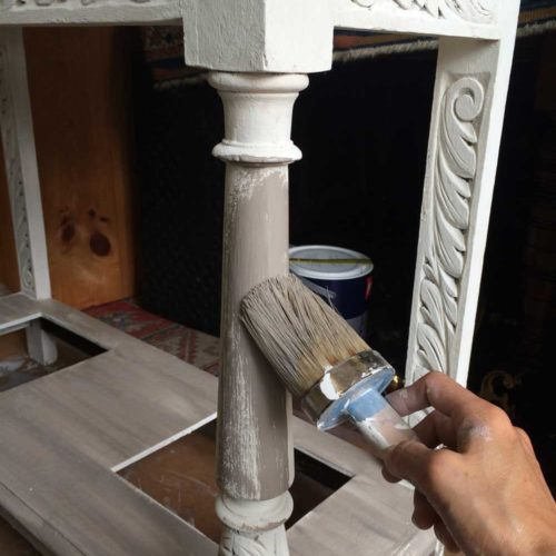 Hallstand being painted French  Linen on white