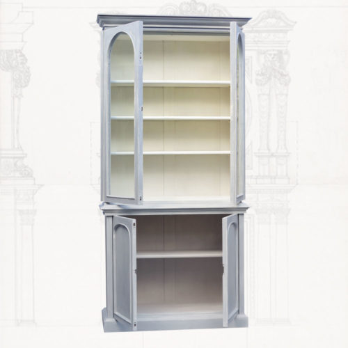 Painted bookcase with contrasting interiors
