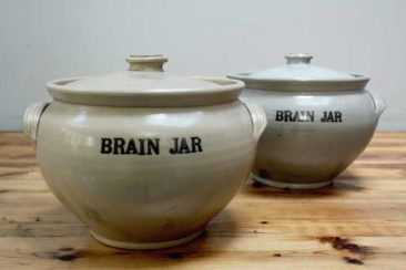Two vintage apothecary brain jars