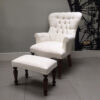 Lily white floral armchair, high quality cotton, handcrafted in the UK