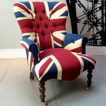 Winston Union Jack vintage style armchair, high quality drill cotton Union Jack