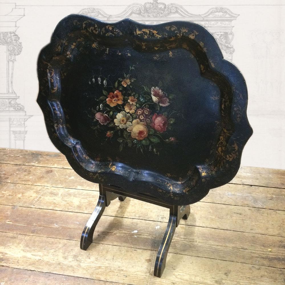 ... Antique Victorian Papiermache Tray Table Floral Napoleonrockefeller.com  ...