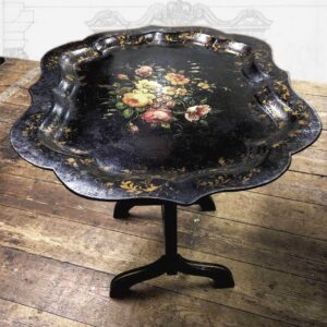 Antique-Victorian-papiermache-tray-table-floral-Napoleonrockefeller.com