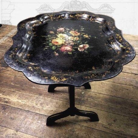 Antique-Victorian-papiermache-tray-table-floral-Napoleonrockefeller.com