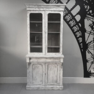 Painted-antique-distressed-stone-effect-bookcase-Napoleonrockefeller.com
