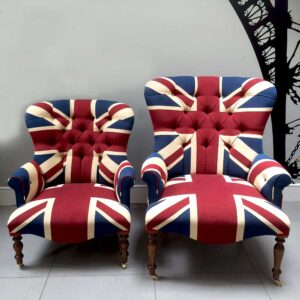 Winston Union Jack chair, handcrafted with quality drill cotton, bespoke orders, available various sizes, from napoleonrockefeller.com in Wimbledon London