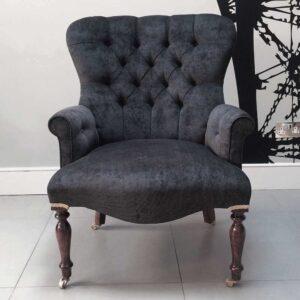 antique-style-armchair-seating-upholstered-black-velvet-handmade-bespoke-vintage-style-Napoleonrockefeller.com