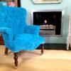 teal-velvet-armchair-vintagestyle-handmade-bespoke-Napoleonrockefeller.com