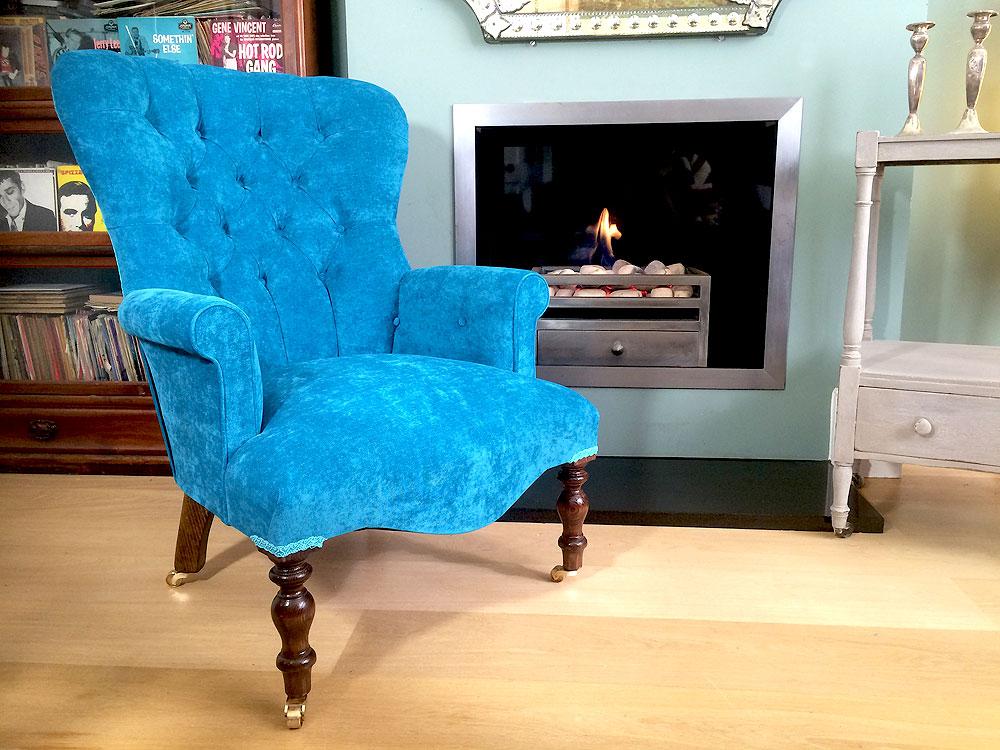 ... Teal Velvet Armchair  Vintagestyle Handmade Bespoke Napoleonrockefeller.com