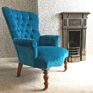 Mimi Teal Velvet Armchair