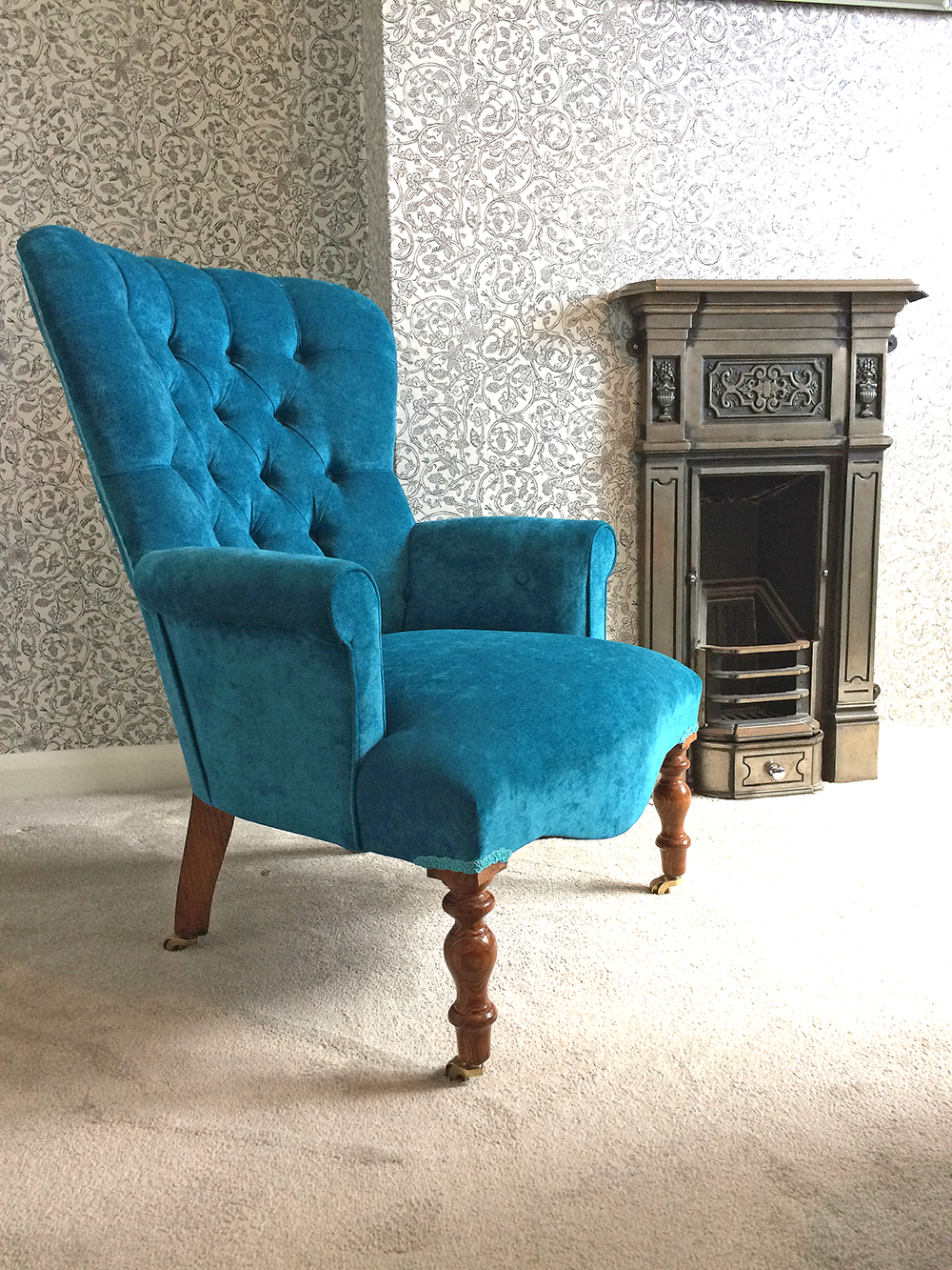 Mimi Teal Velvet Armchair Napoleonrockefeller Vintage And Retro Furniture Bespoke Hand Crafted Chairs And Seating