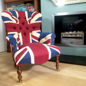Winston Union Jack Chair|Union Jack chair|Union Jack Lounge chair| Union Jack seating|Union Jack armchair|antiquestyle chairs|buttonback armchair|Napoleonrockefeller.com