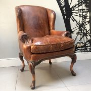 Antiques|vintage|club chair|leather wingback|leather club chair|vintage club chair|brown leather club chair|vintage seating|napoleonrockefeller.com|Wimbledon