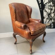 Club chair|brown leather armchair|leather armchair|vintage club chair|Napoleonrockefeller.com|Wimbledon|antiques|vintage decor|interiors