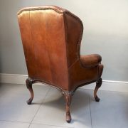 Stylish distressed brown leather wing back club chair| rich crackled brown leather|Napoleonrockefeller.com