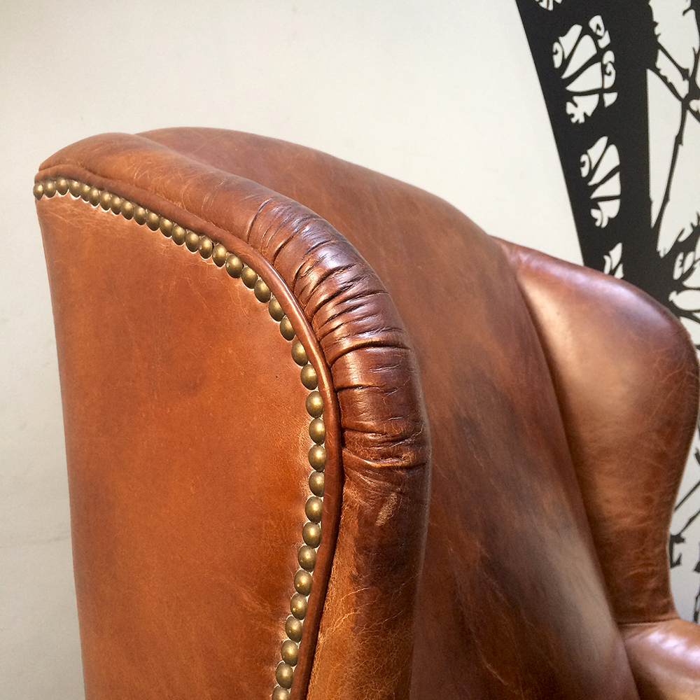 Wing Back Chair|club Chair|leather Club Chair|brown Leather Club Chair| ...