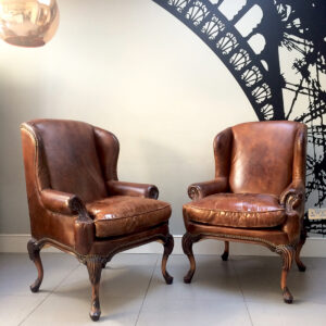 Brown leather club chairs|club chairs|leather club chairs| armchairs|vintage leather & napoleonrockefeller.com | collectables vintage and painted furniture