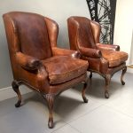 brown leather club chairs|club chairs|leather club chairs| leather armchairs|vintage leather chairs|napoleonrockefeller|wimbledon