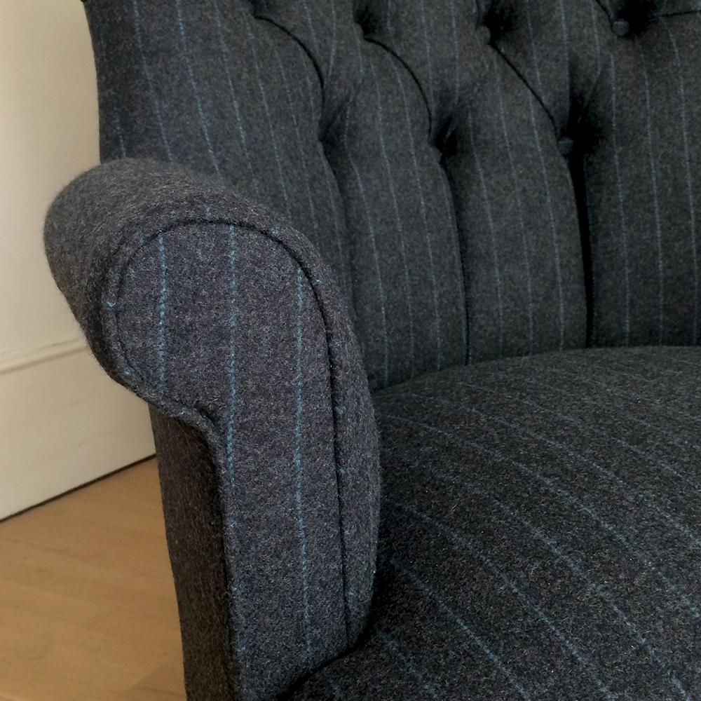 Dark Grey Wool Moon Fabric Armchair