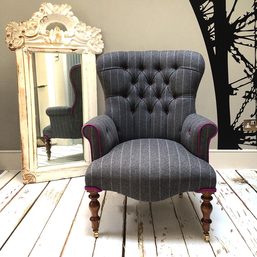 Abraham Moon Wool| Wool Upholstery|chalk Stripe Upholstery| Grey Wool  Chair|pink