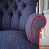 Navy|tweed|Navy wool|red velvet|bespoke chair|upholstered chair|handmade chair|london|bespoke chair london
