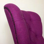 Pink armchair|pink chair|wool armchair|purple armchair|bespoke seating|button back chair|Moon fabric|Abraham Moon fabric|upholstered chair|bespoke seating|designer chair| boutique chair|lounge chair|armchair| napoleonrockefeller.com|Wimbledon interiors|Wimbledon decor|Home styling|Interiors