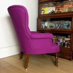 100% pink lambswool armchair upholstered in designer fabric by Abraham Moon, handcrafted in the UK. Napoleonrockefeller.com. Wimbledon interiors + home decor