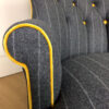 Moon fabrics|Abraham Moon fabric| Moon upholstery|Moon upholstered|Yellow velvet chair|Gold velvet|Grey wool chair|grey wool armchair|grey pinstripe| grey armchair| pinstripe chairs|antique style chairs|button back chair| lounge chairs|armchairs| club chair| home decor|interior design| Wimbledon interiors| napoleonrockefeller.com