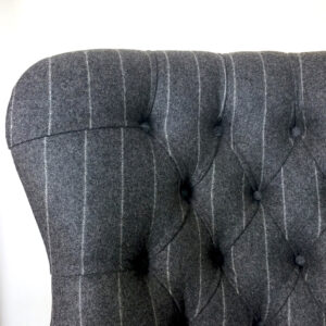 Pinstripe chair|pinstripe armchair|Moon armchair|moon upholstery|Moon chairs|grey wool chairs|grey wool armchairs| grey pinstripe chairs|antique style|bespoke seating|interiors|Wimbledon|Home decor|napoleonrockefeller.com