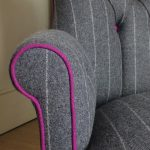 Moon fabrics|Abraham Moon fabric| Moon upholstery|Moon upholstered|pink +grey chair|Grey wool chair|grey wool armchair|grey pinstripe| grey armchair| pinstripe chairs|antique style chairs|button back chair| lounge chairs|armchairs| club chair| home decor|interior design| Wimbledon interiors| napoleonrockefeller.com