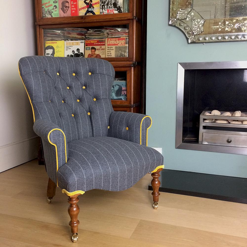 Moon Fabrics Abraham Fabric Upholstery Upholstered Yellow Velvet Chair