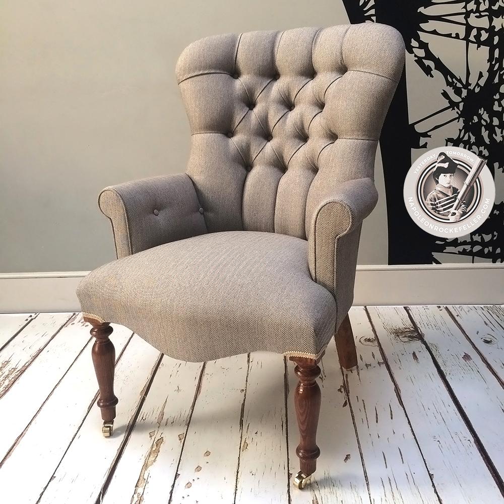 Tweed Chair|herringbone Chair|library Chair|bedroom Chair| Beige Chair |neutral