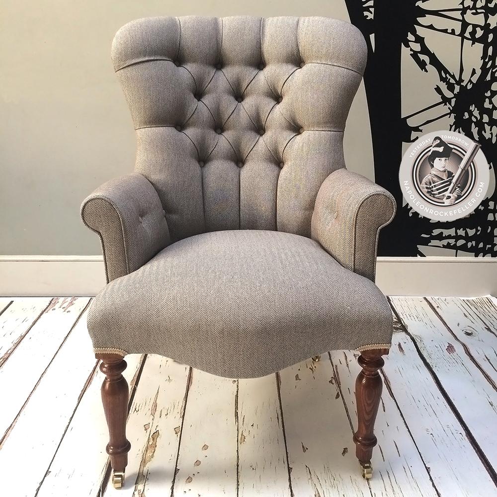 Tweed Chair|herringbone Chair|library Chair|bedroom Chair| Beige Chair|neutral  ...