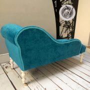 Blue velvet velvet chaise chaise longue teal chair teal velvet  upholstery  upholstered seating handcrafted seating vintage style button back Napoleonrockefeller.com  interiors home decor Wimbledon interiors
